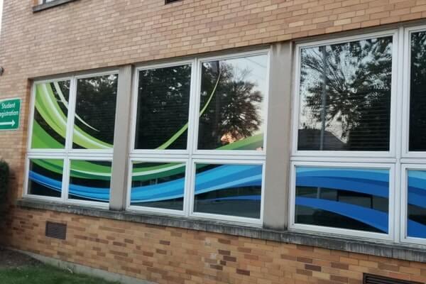 Large Blue and Green Cut Window Vinyl Swoosh