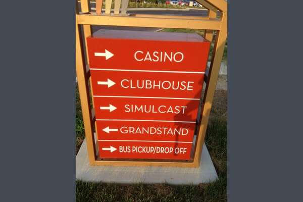 Directional Parking Lot Signage for scioto downs casino