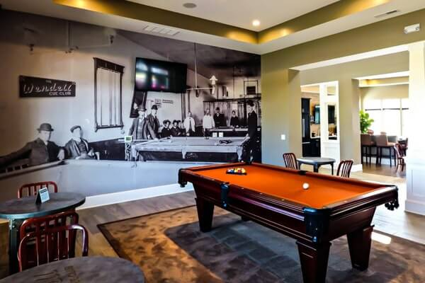 Vintage Lobby Wall Mural with Pool table