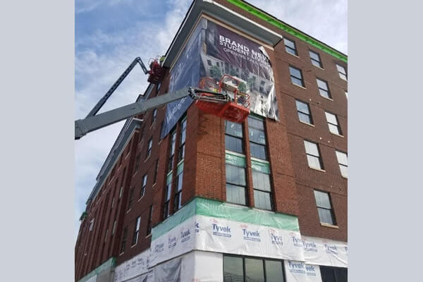 large hanging jobsite banner